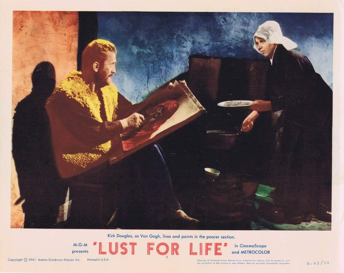 LUST FOR LIFE Original Lobby Card 4 Kirk Douglas Anthony Quinn James Donald Van Gogh 1962r