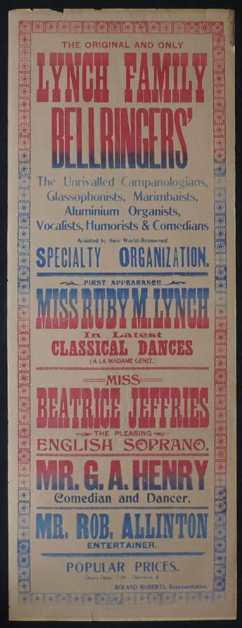 "LYNCH FAMILY BELLRINGERS AND GLASSOPHONISTS c1914 Rare Original Theatre poster ""B"""