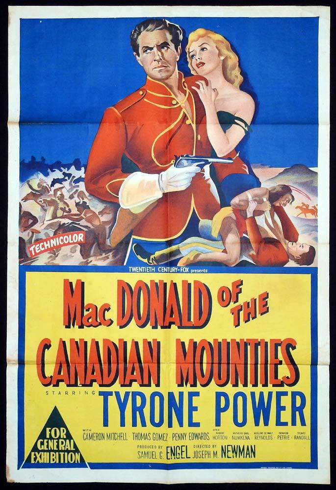MACDONALD OF THE CANADIAN MOUNTIES aka PONY SOLDIER Original One sheet Movie Poster Tyrone Power