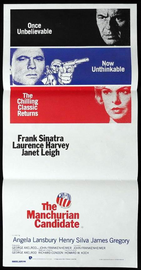 THE MANCHURIAN CANDIDATE Original Daybill Movie Poster Frank Sinatra 1988R