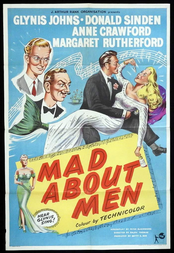 MAD ABOUT MEN British One Sheet Movie Poster Glynis Johns Donald Sinden