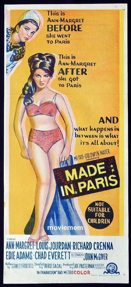 MADE IN PARIS Original Daybill Movie Poster Ann-Margret Bikini Louis Jourdan