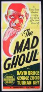 THE MAD GHOUL Original Daybill Movie Poster Universal Horror 1943 George Zucco