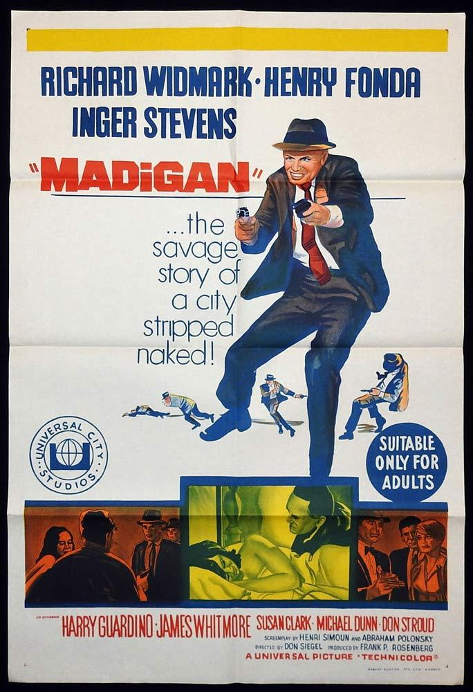 MADIGAN Original One sheet Movie poster Richard Widmark Henry Fonda