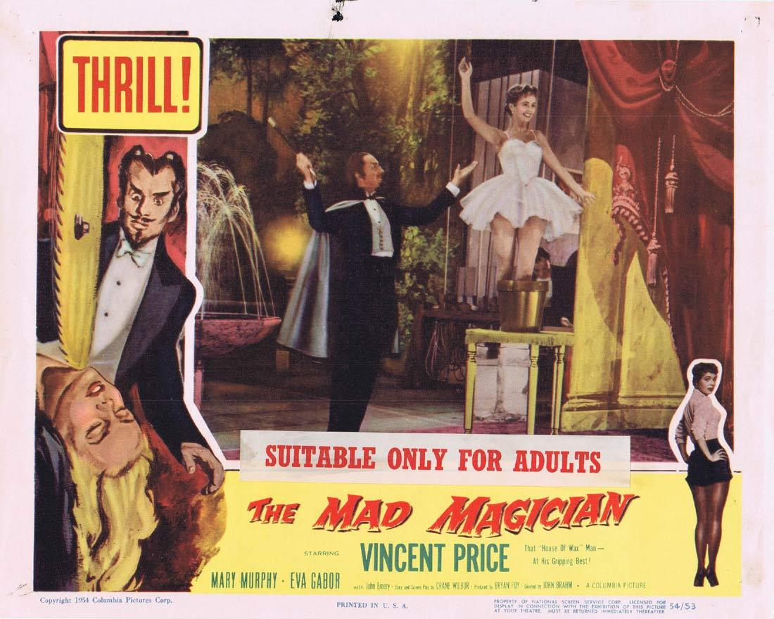 THE MAD MAGICIAN Original Lobby Card Vincent Price Mary Murphy Eva Gabor