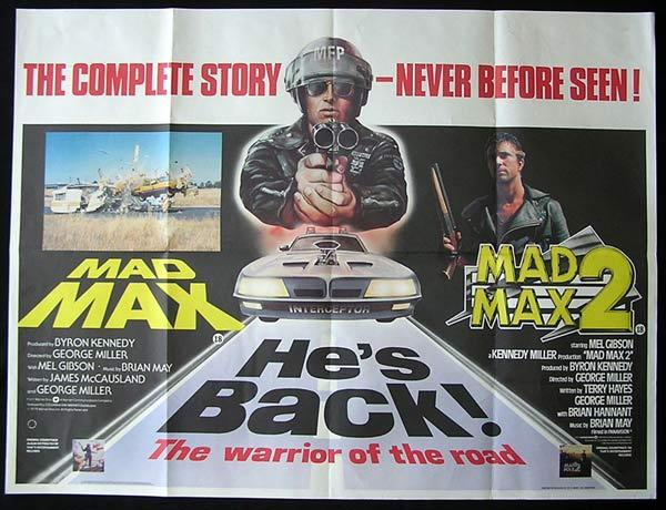 MAD MAX aka ROAD WARRIOR 1 and 2 1979 Double Bill Mel Gibson British Quad Movie poster