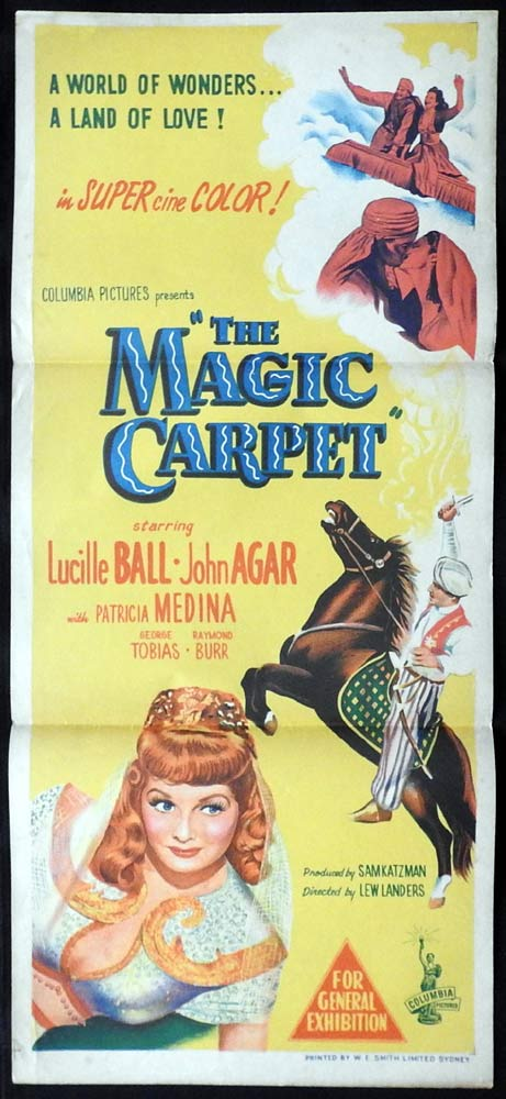 THE MAGIC CARPET Original Daybill Movie Poster Lucille Ball John Agar