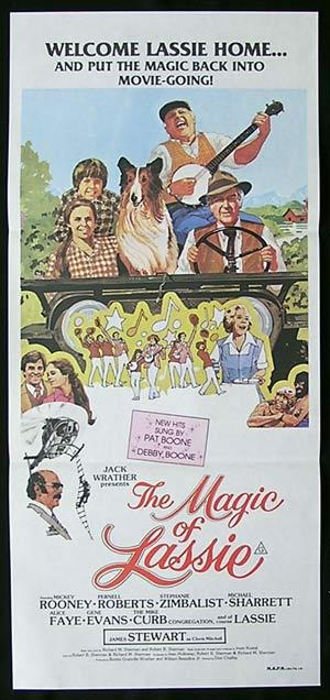 THE MAGIC OF LASSIE Original Daybill Movie Poster James Stewart Michael Sharrett Lassie Pernell Roberts Mickey Rooney
