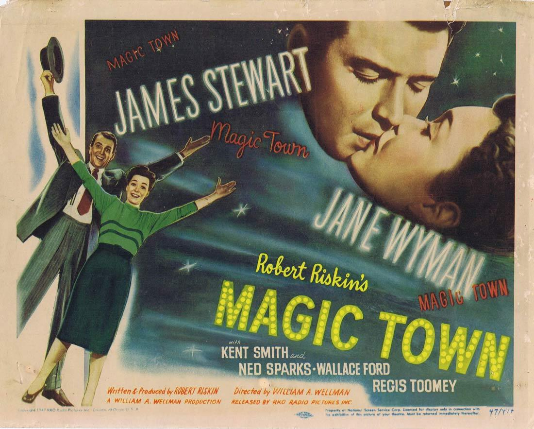MAGIC TOWN Vintage Title Lobby Card James Stewart Jane Wyman Kent Smith