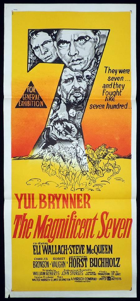 THE MAGNIFICENT SEVEN Original Daybill Movie Poster Yul Brynner