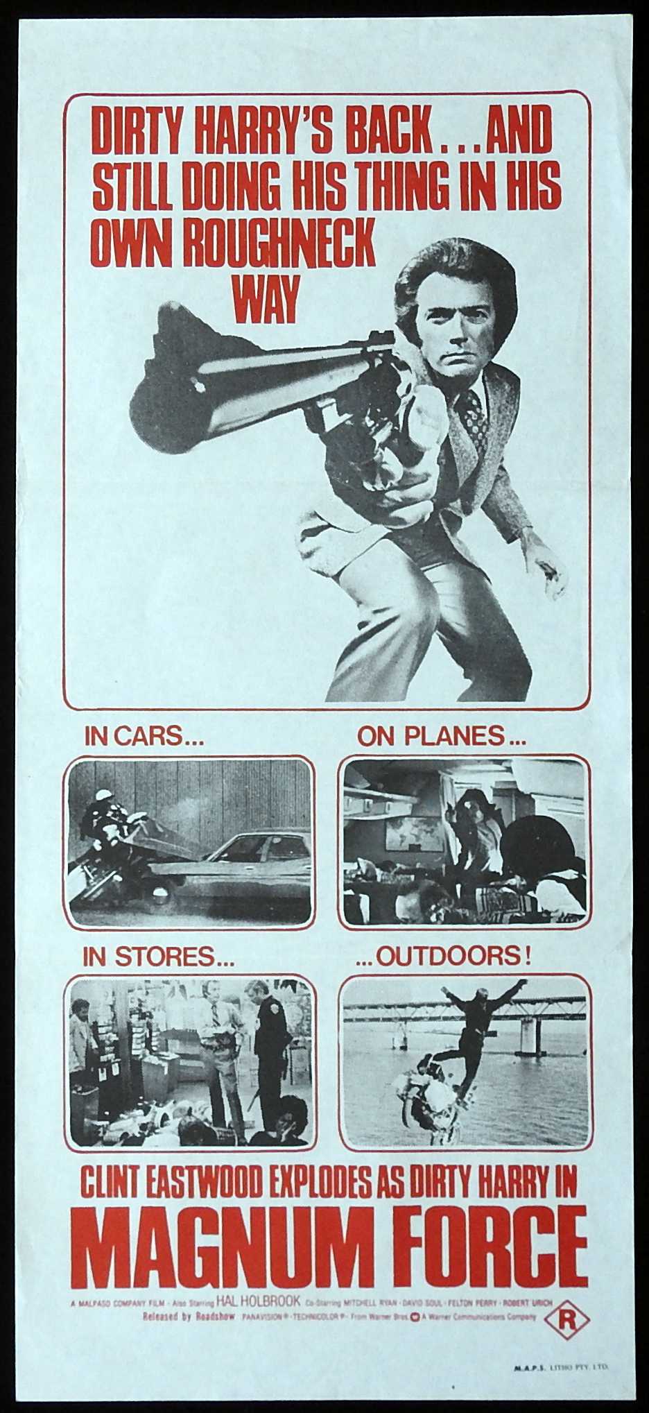 MAGNUM FORCE Original Daybill Movie poster Clint Eastwood as Dirty Harry