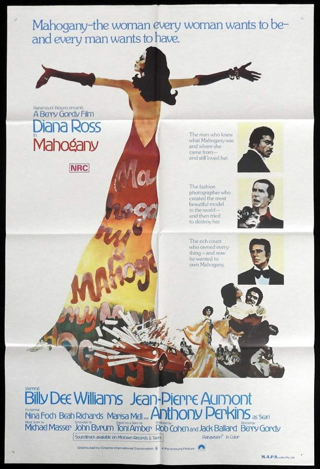 MAHOGANY Original One sheet Movie Poster Diana Ross Billy Dee Williams