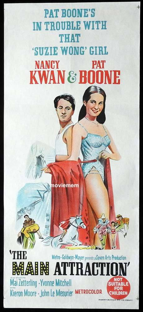 THE MAIN ATTRACTION Original Daybill Movie Poster Nancy Kwan Pat Boone