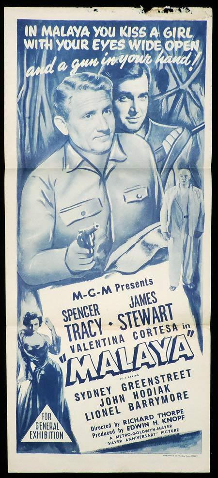 MALAYA Original Daybill Movie Poster SPENCER TRACY James Stewart Sydney Greenstreet Marchant Graphics