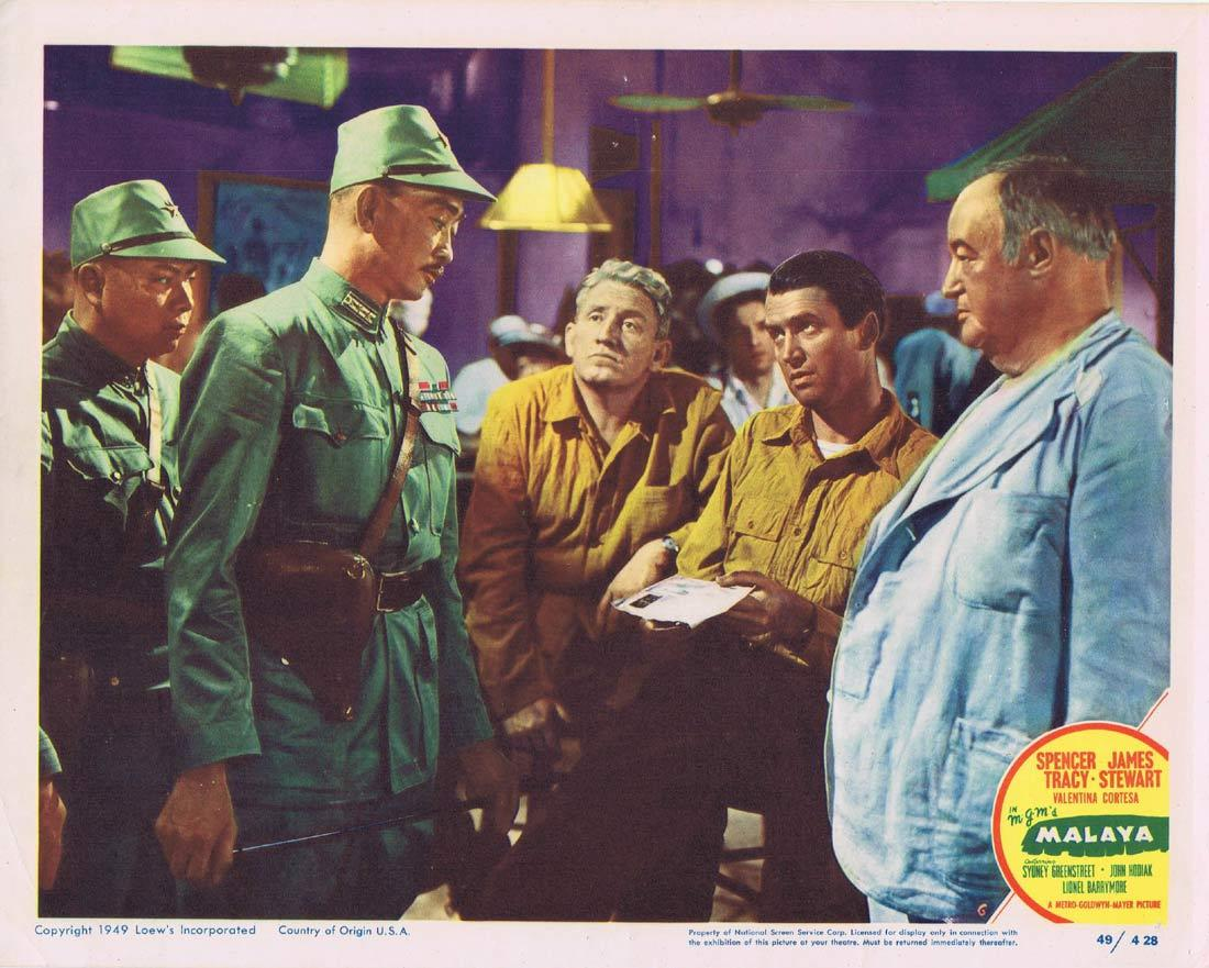 MALAYA Vintage Movie Lobby Card 6 Spencer Tracy James Stewart Sydney Greenstreet