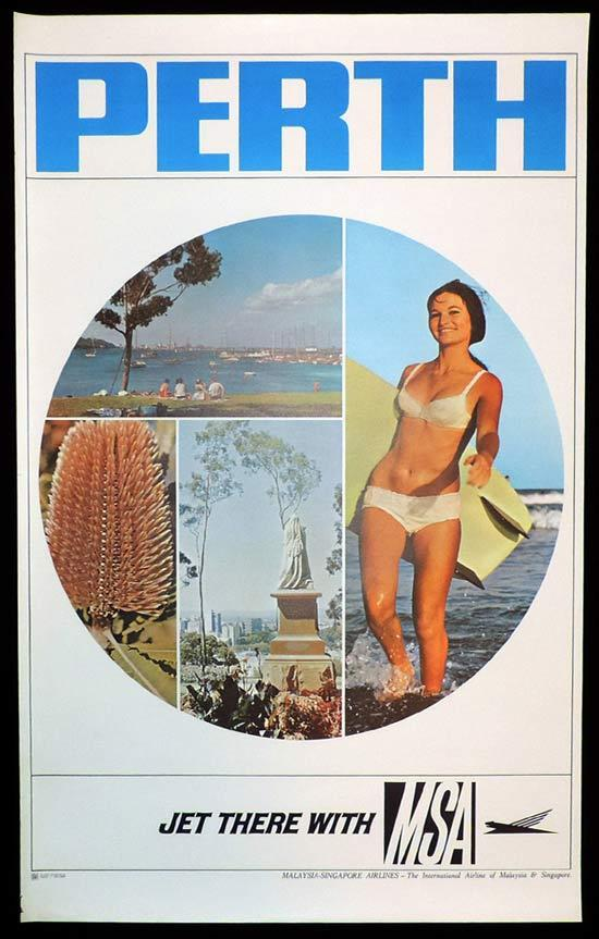 MALAYSIA SINGAPORE AIRLINES MSA PERTH Vintage Travel Poster c.1960s