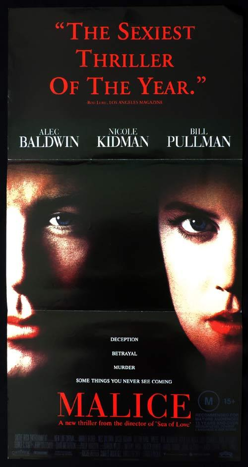 MALICE Daybill Movie poster Alec Baldwin Nicole Kidman Bill Pullman