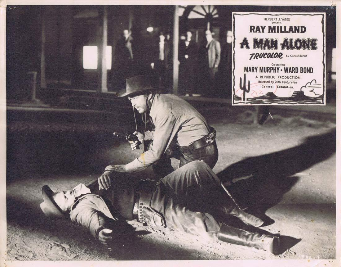 A MAN ALONE Original Australian Lobby Card 2 RAY MILLAND Mary Murphy