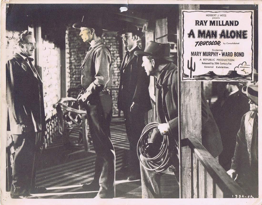 A MAN ALONE Original Australian Lobby Card 3 RAY MILLAND Mary Murphy