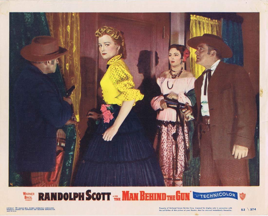 THE MAN BEHIND THE GUN Lobby Card Randolph Scott Patrice Wymore