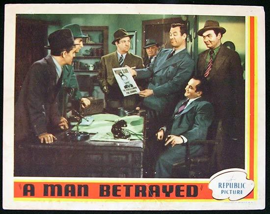 A MAN BETRAYED '41 Rare JOHN WAYNE Republic Lobby card #1