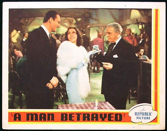 A MAN BETRAYED '41 Rare JOHN WAYNE Republic Lobby card #7