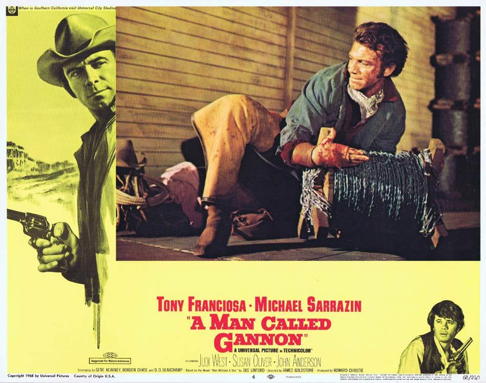 A MAN CALLED GANNON Lobby Card 4 Tony Franciosa Michael Sarrazin