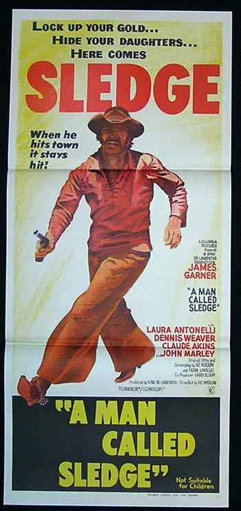 MAN CALLED SLEDGE Movie Poster 1970 James Garner Australian Daybill
