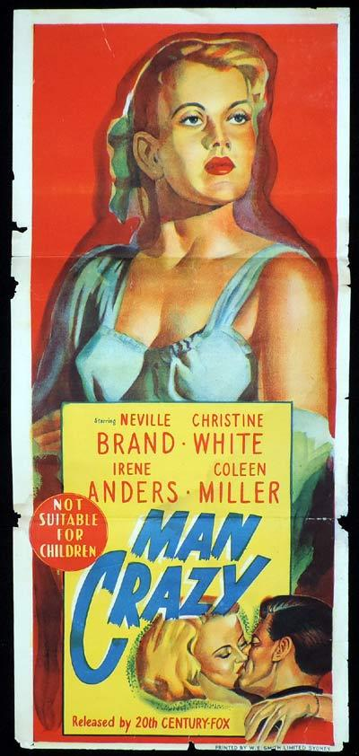 MAN CRAZY Original Daybill Movie Poster BAD GIRL Film Noir