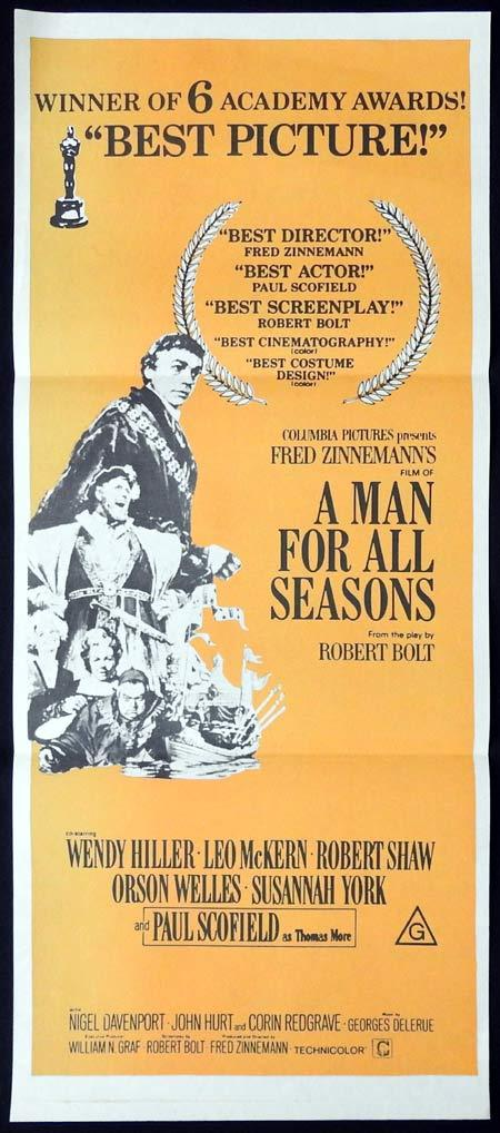 A MAN FOR ALL SEASONS Original Daybill Movie Poster Paul Scofield Wendy Hiller 1970sr