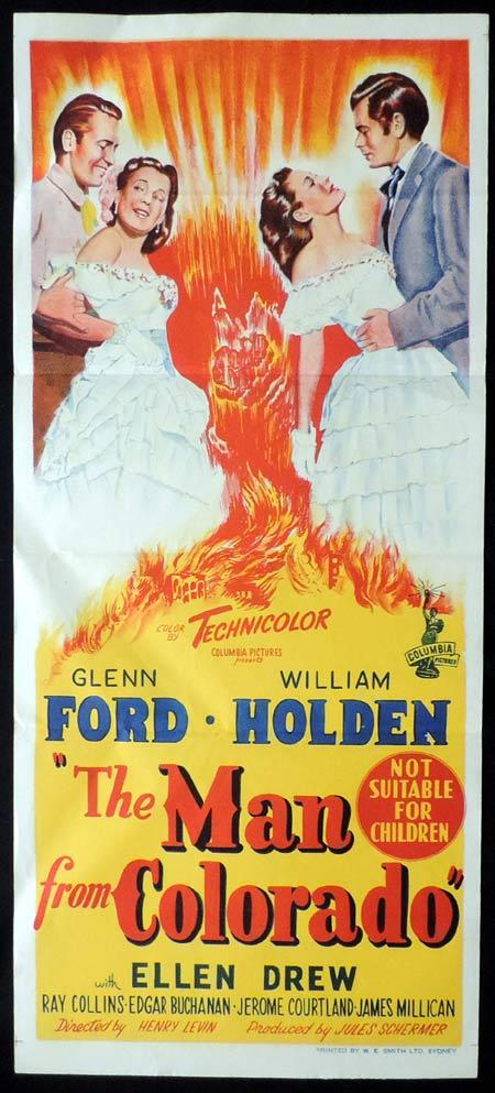 THE MAN FROM COLORADO Original Daybill Movie Poster Glenn Ford William Holden