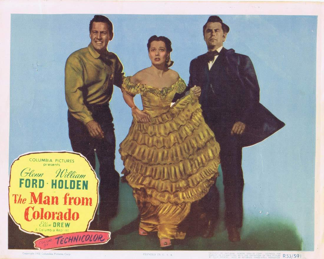 THE MAN FROM COLORADO Original Lobby Card Glenn Ford William Holden Ellen Drew