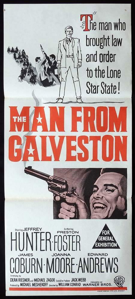 THE MAN FROM GALVESTON Original Daybill Movie PosterJeffrey Hunter Preston Foster James Coburn