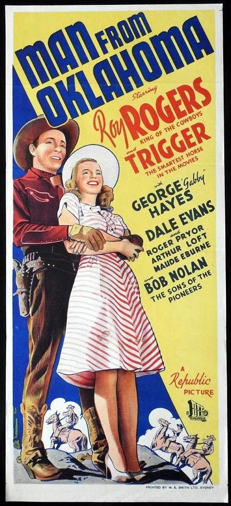 MAN FROM OKLAHOMA Original Daybill Movie Poster Roy Rogers Dale Evans