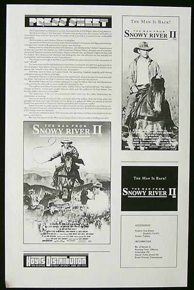 MAN FROM SNOWY RIVER 2 '88 Burlinson RARE Press Sheet