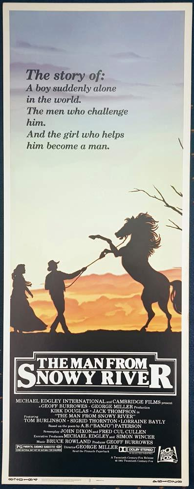 MAN FROM SNOWY RIVER Original US Insert Movie Poster Tom Burlinson