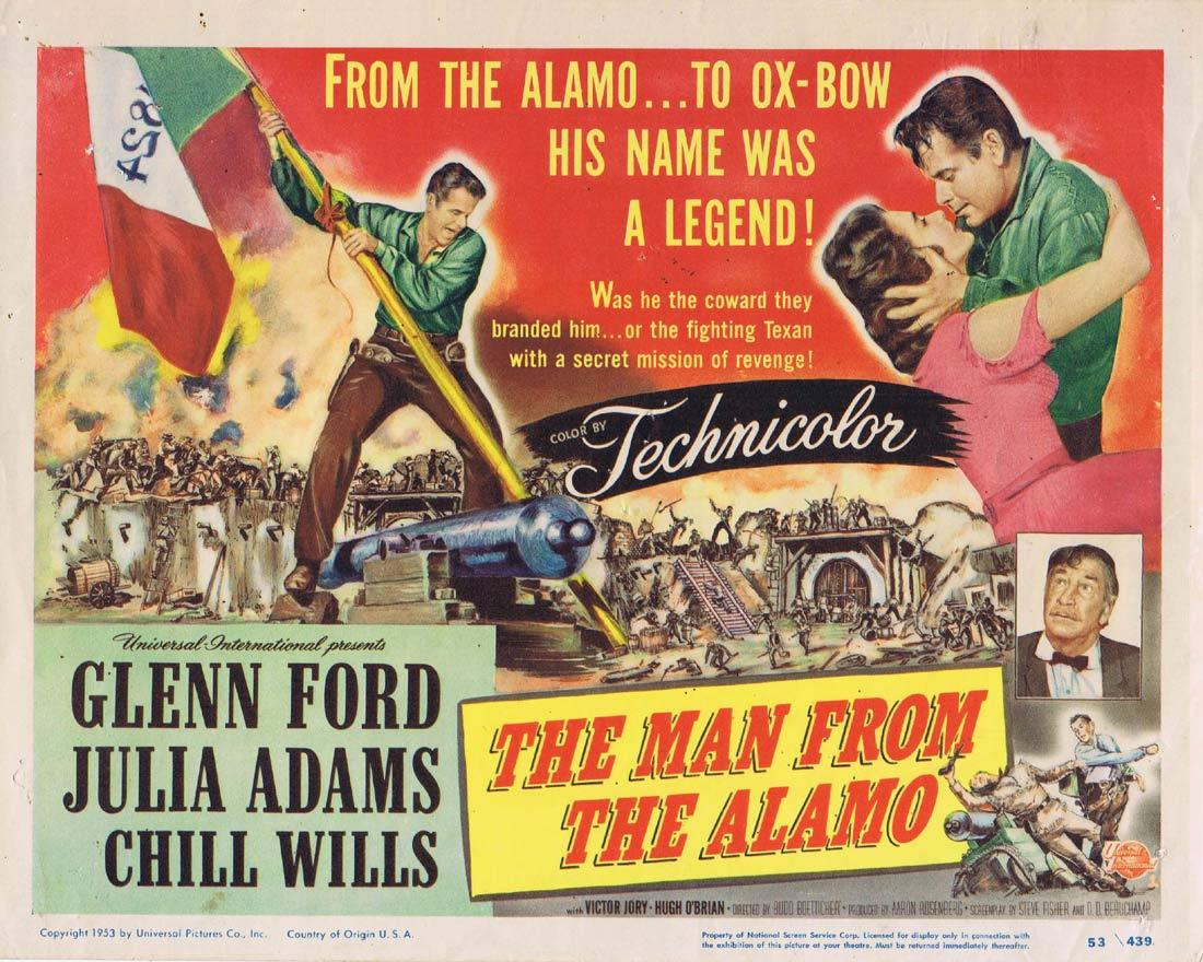 THE MAN FROM THE ALAMO Vintage Lobby Card Glenn Ford Julie Adams Chill Wills