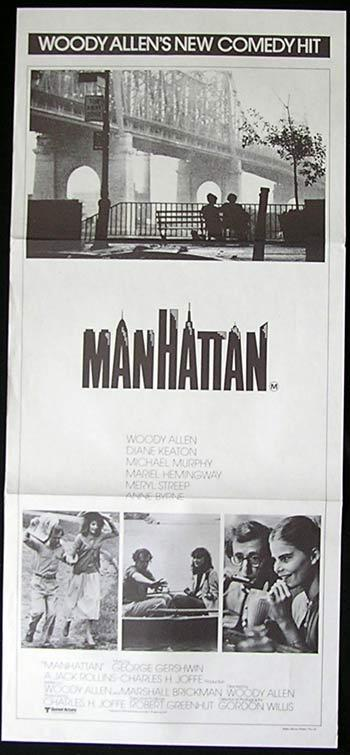 MANHATTAN Original Daybill Movie poster Woody Allen Diane Keaton