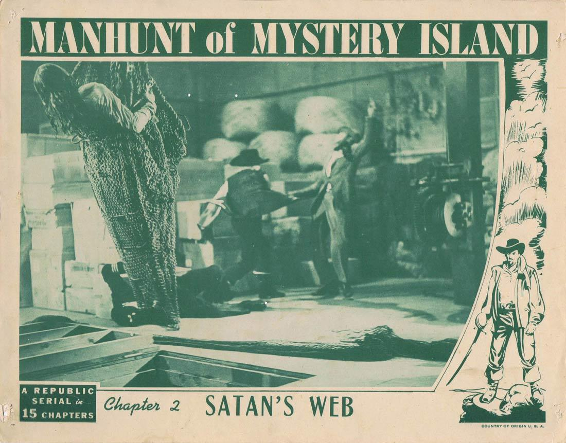 MANHUNT OF MYSTERY ISLAND Original Lobby Card Columbia Serial 1945