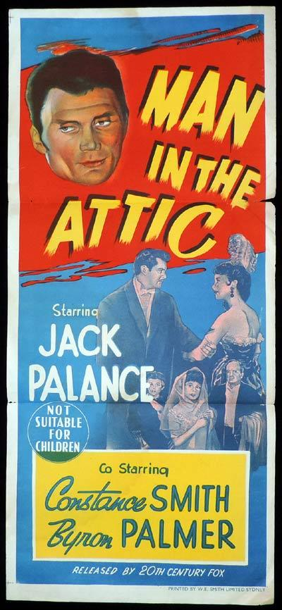 MAN IN THE ATTIC Original Daybill Movie Poster Jack Palance Film Noir