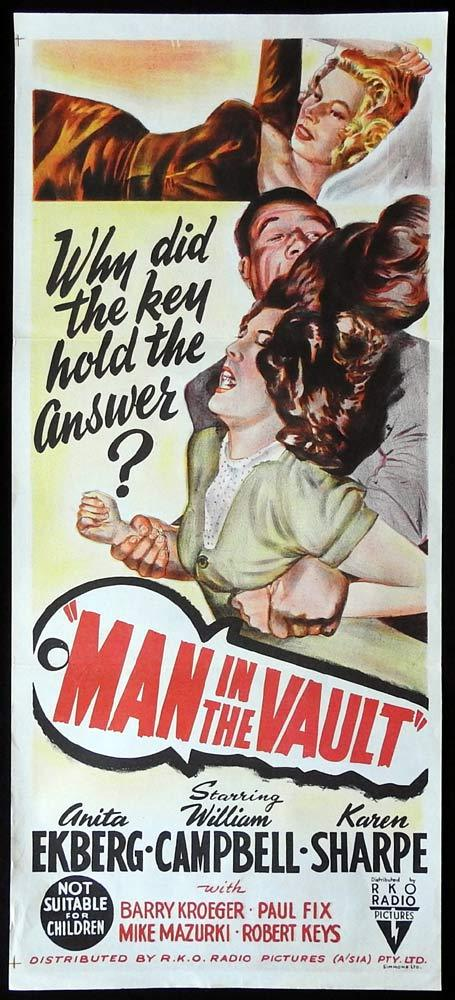 MAN IN THE VAULT Original Daybill Movie poster Anita Ekberg Film Noir
