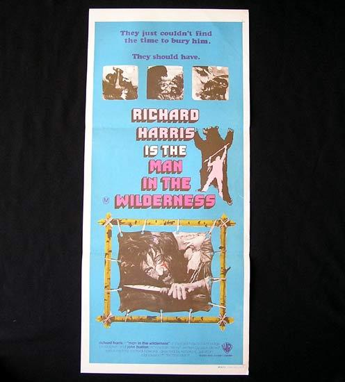 MAN IN THE WILDERNESS Richard Harris RARE Australian Daybill Movie poster
