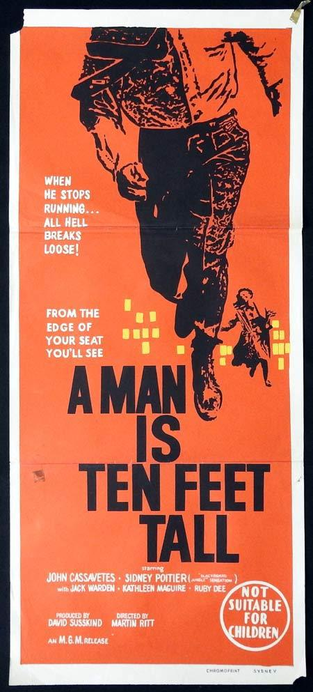 A MAN IS TEN FEET TALL aka EDGE OF THE CITY Original Daybill Movie Poster Saul Bass design