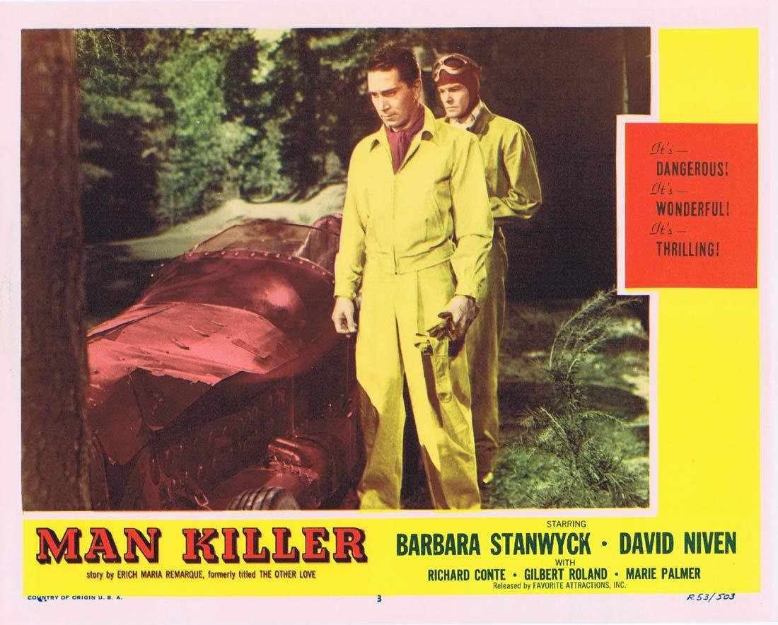 MAN KILLER Lobby Card Barbara Stanwyck David Niven Richard Conte 1953r