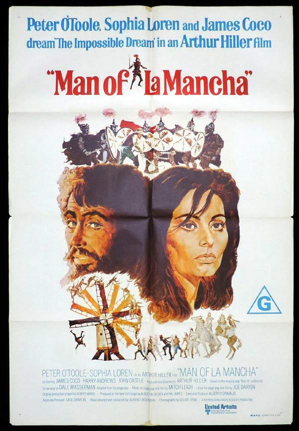 MAN OF LA MANCHA One Sheet Movie Poster Peter O'Toole Sophia Loren