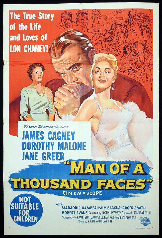MAN OF A THOUSAND FACES Original One sheet Movie poster James Cagney Lon Chaney