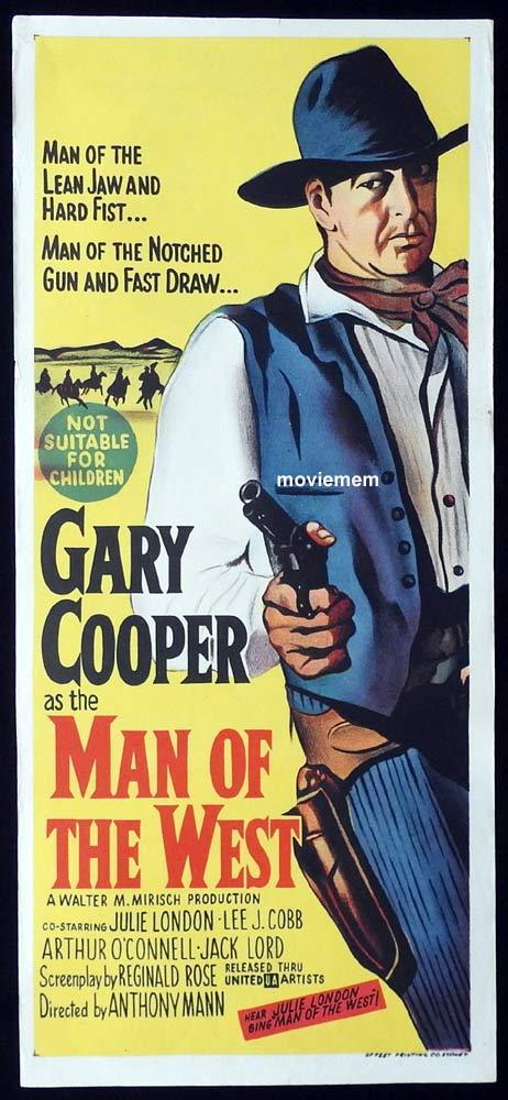 MAN OF THE WEST Original Daybill Movie Poster Gary Cooper Julie London