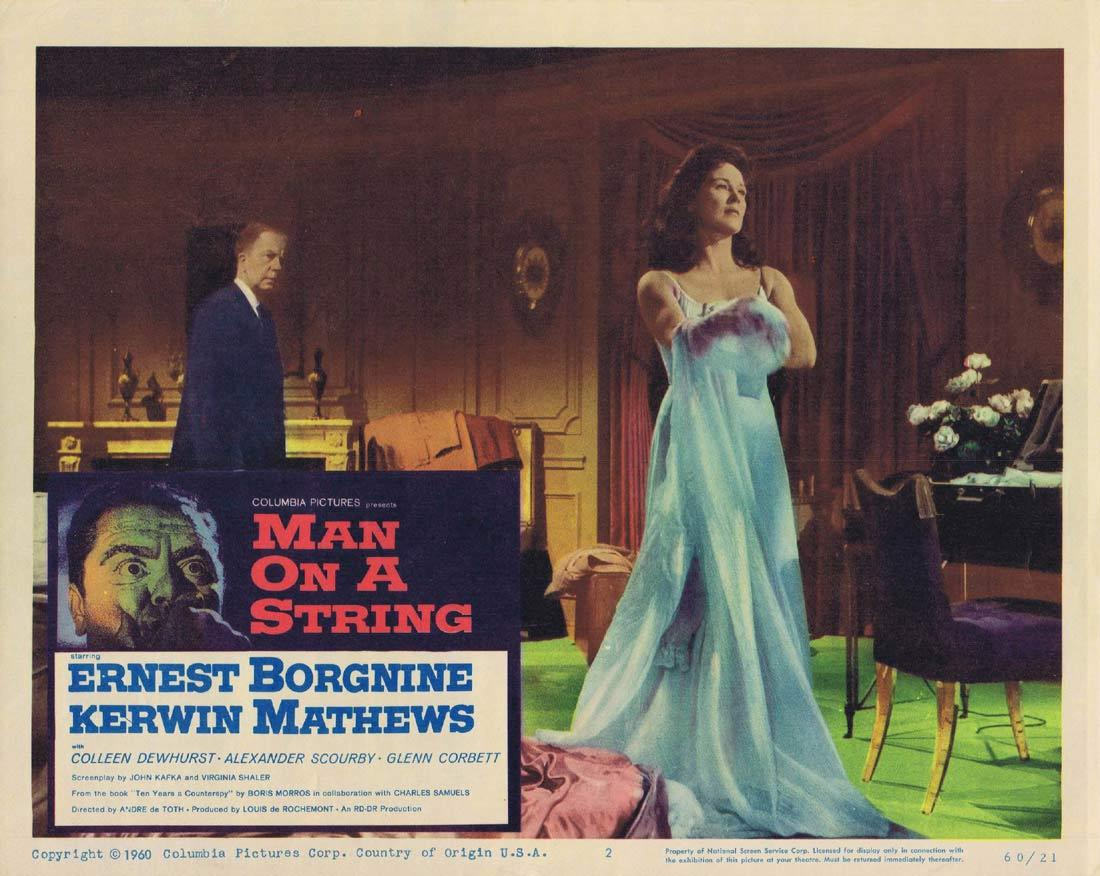 MAN ON A STRING Lobby Card 1960 Borgnine FILM NOIR
