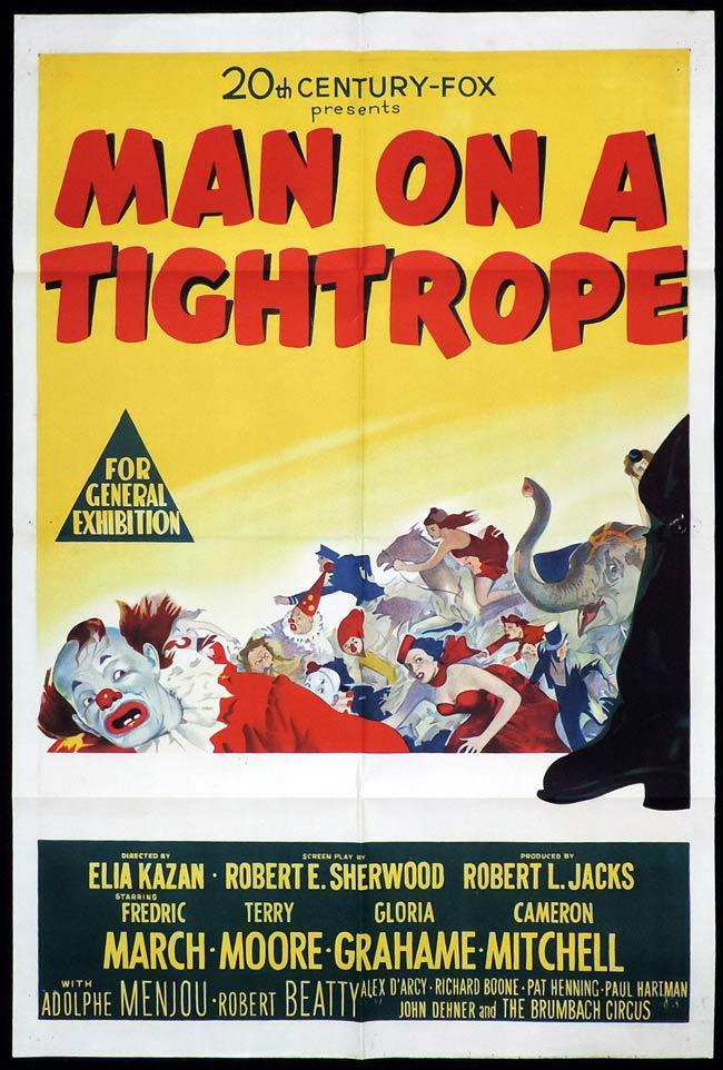 MAN ON A TIGHTROPE Original One sheet Movie Poster Fredric March Terry Moore Gloria Grahame Circus