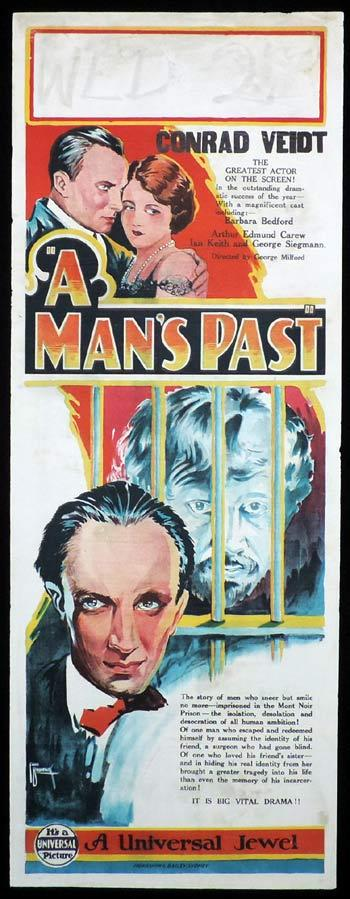 A MAN'S PAST Long Daybill Movie poster 1927 Fred Brodrick art